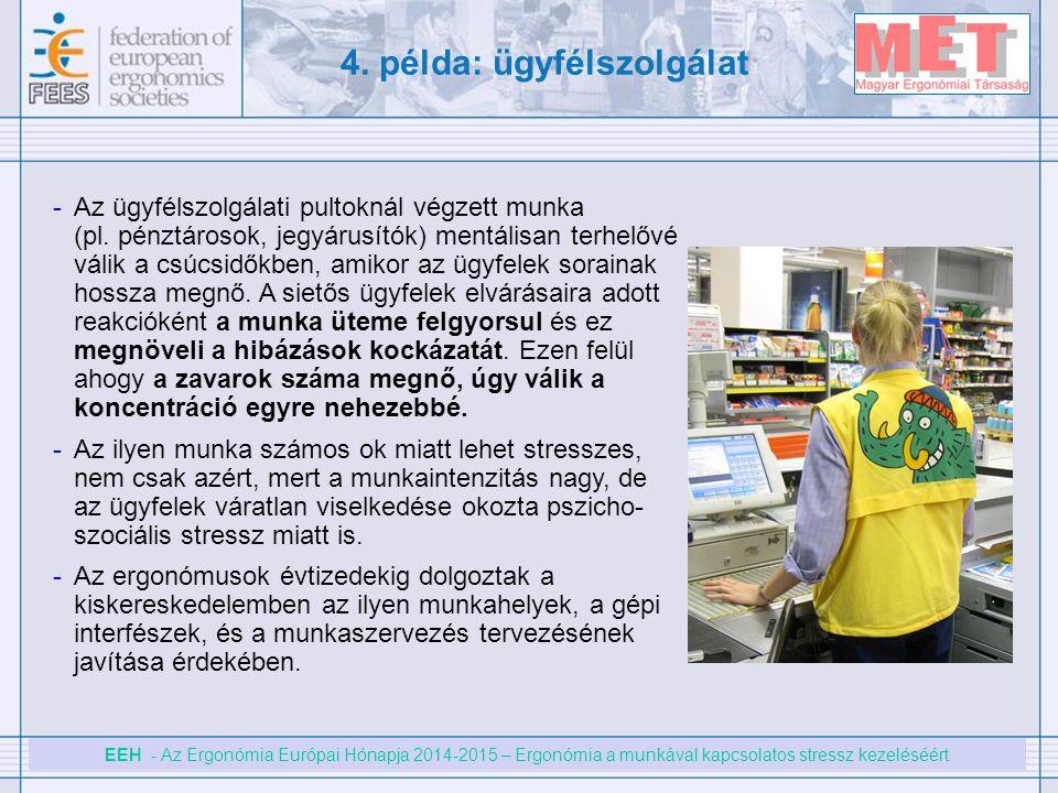 EEH - Az Ergonómia Európai Hónapja 2014-2015 – Ergonómia a munkával kapcsolatos stressz kezeléséért 4. példa: ügyfélszolgálat -Az ügyfélszolgálati pul