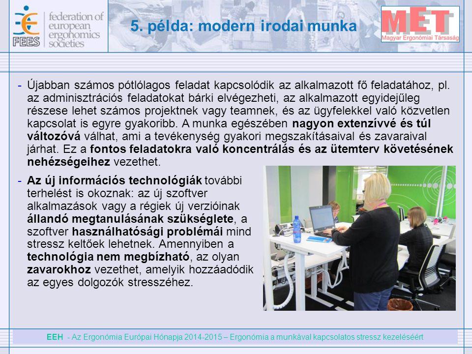 EEH - Az Ergonómia Európai Hónapja 2014-2015 – Ergonómia a munkával kapcsolatos stressz kezeléséért 5. példa: modern irodai munka -Újabban számos pótl
