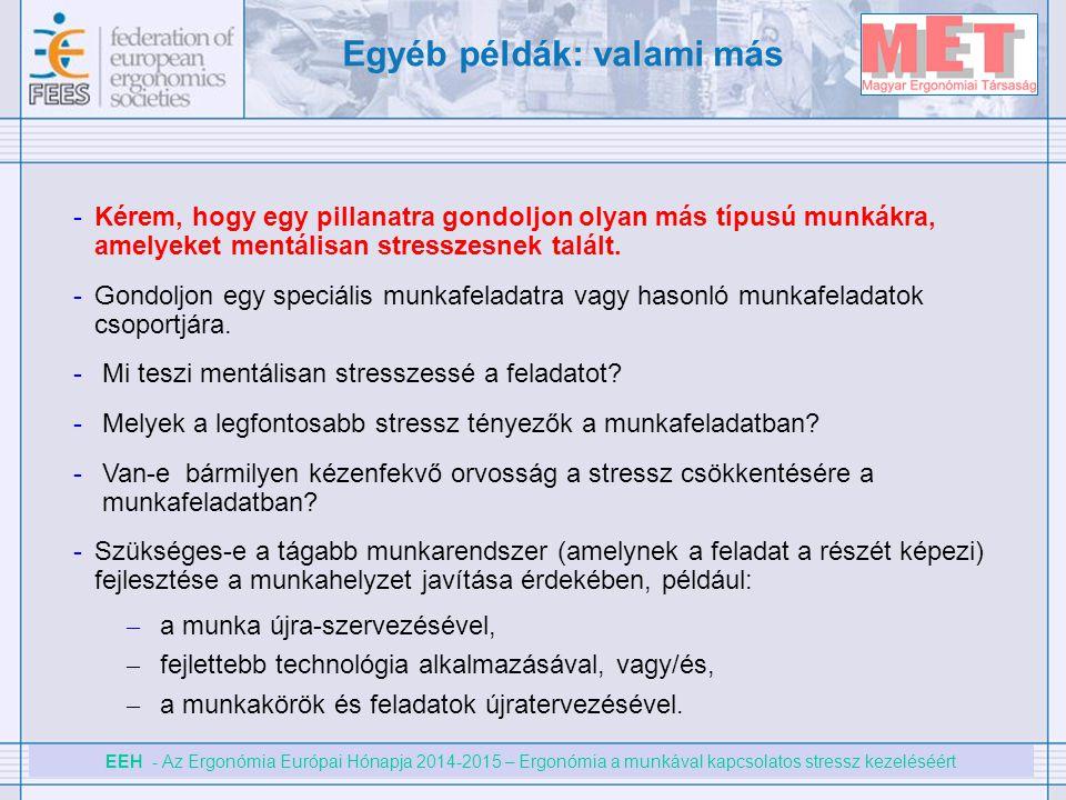 EEH - Az Ergonómia Európai Hónapja 2014-2015 – Ergonómia a munkával kapcsolatos stressz kezeléséért -Kérem, hogy egy pillanatra gondoljon olyan más tí