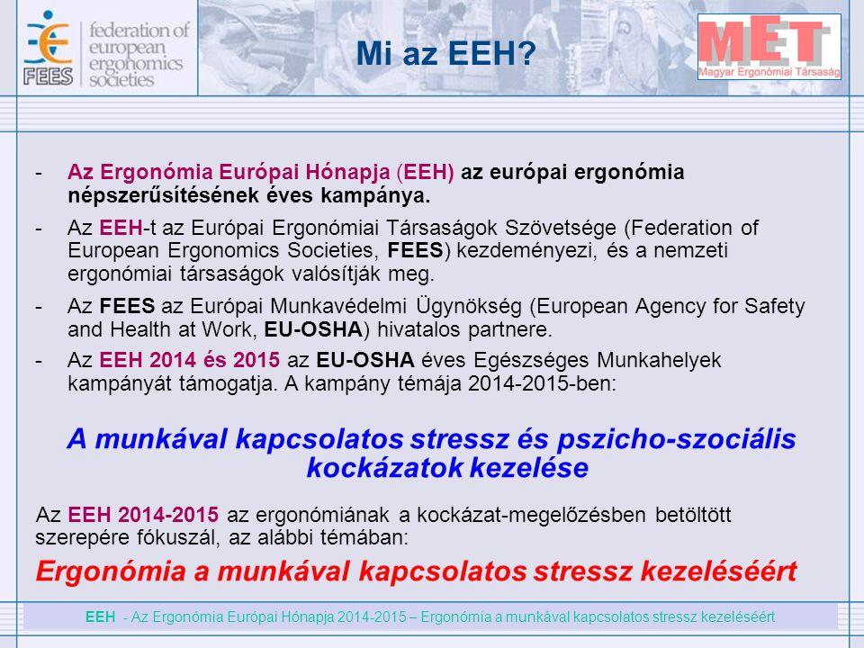 EEH - Az Ergonómia Európai Hónapja 2014-2015 – Ergonómia a munkával kapcsolatos stressz kezeléséért Mi az EEH? -Az Ergonómia Európai Hónapja (EEH) az