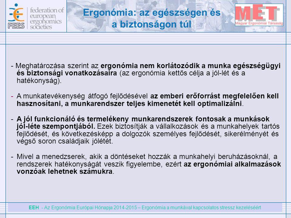 EEH - Az Ergonómia Európai Hónapja 2014-2015 – Ergonómia a munkával kapcsolatos stressz kezeléséért - Meghatározása szerint az ergonómia nem korlátozó