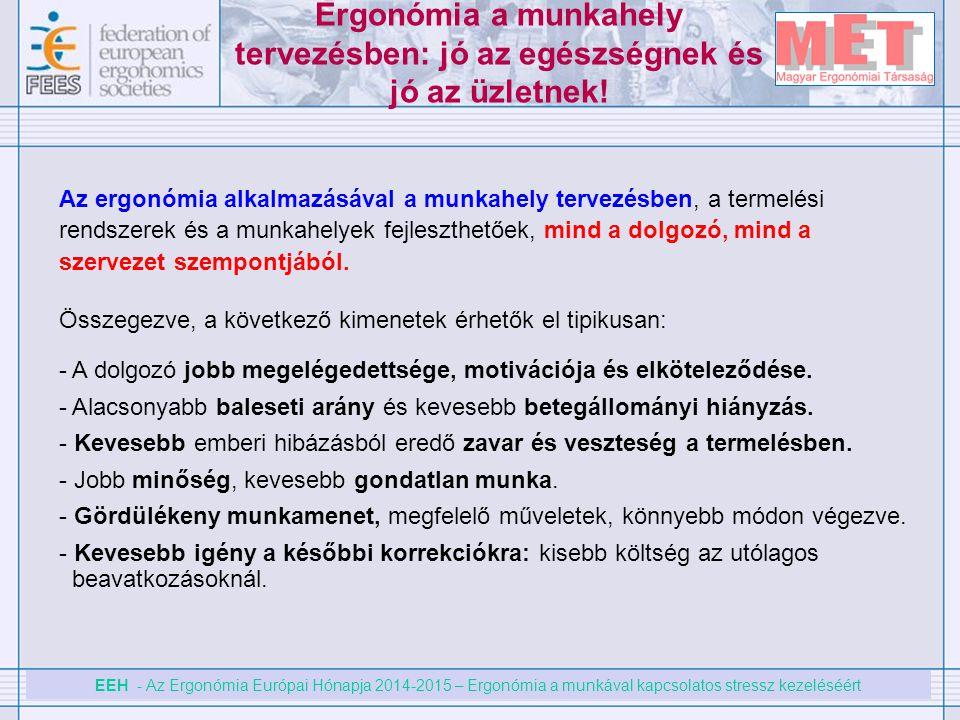 EEH - Az Ergonómia Európai Hónapja 2014-2015 – Ergonómia a munkával kapcsolatos stressz kezeléséért Ergonómia a munkahely tervezésben: jó az egészségn