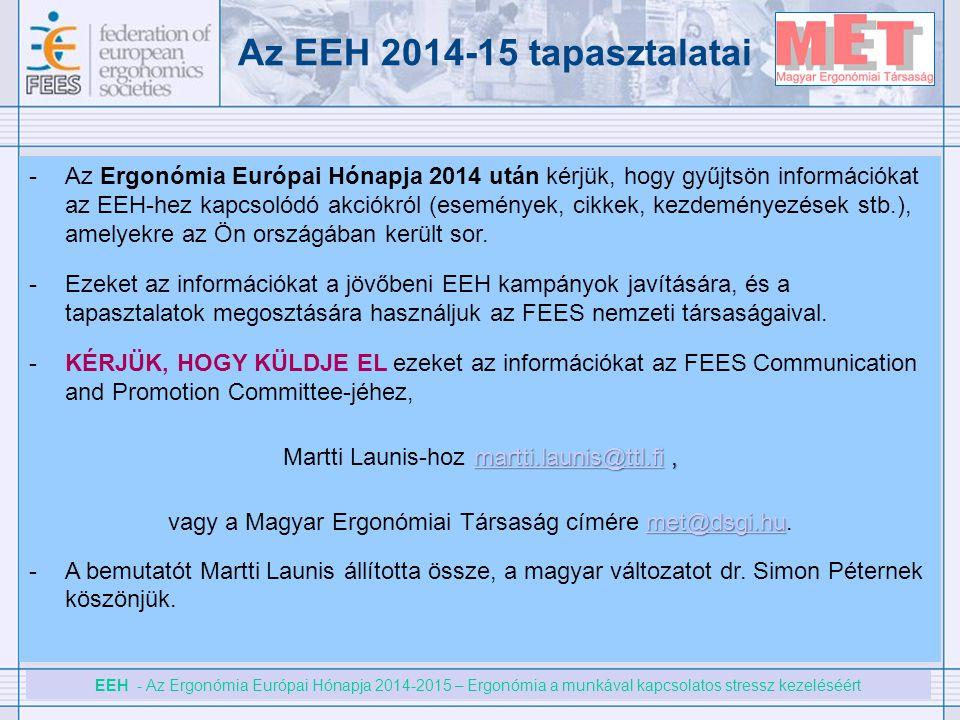 EEH - Az Ergonómia Európai Hónapja 2014-2015 – Ergonómia a munkával kapcsolatos stressz kezeléséért Az EEH 2014-15 tapasztalatai -Az Ergonómia Európai