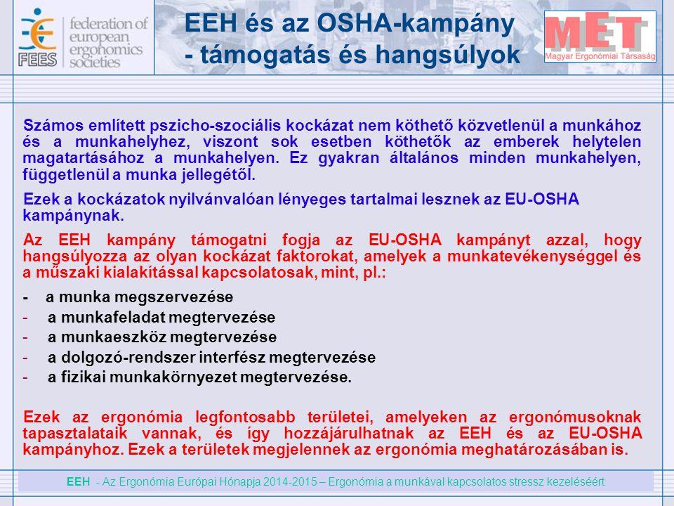 EEH - Az Ergonómia Európai Hónapja 2014-2015 – Ergonómia a munkával kapcsolatos stressz kezeléséért EEH és az OSHA-kampány - támogatás és hangsúlyok S