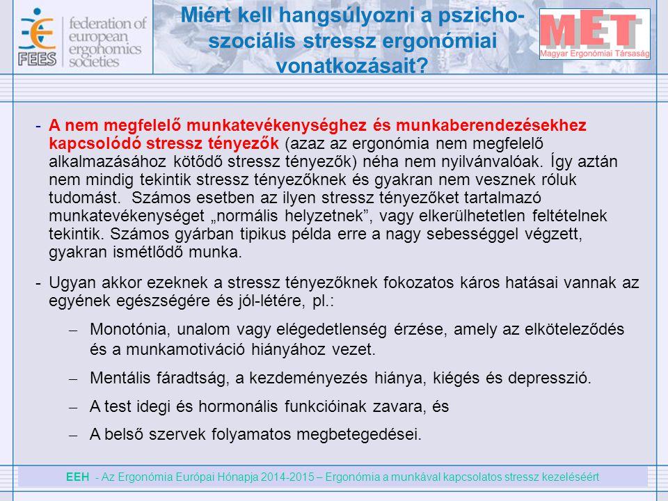 EEH - Az Ergonómia Európai Hónapja 2014-2015 – Ergonómia a munkával kapcsolatos stressz kezeléséért -A nem megfelelő munkatevékenységhez és munkaberen