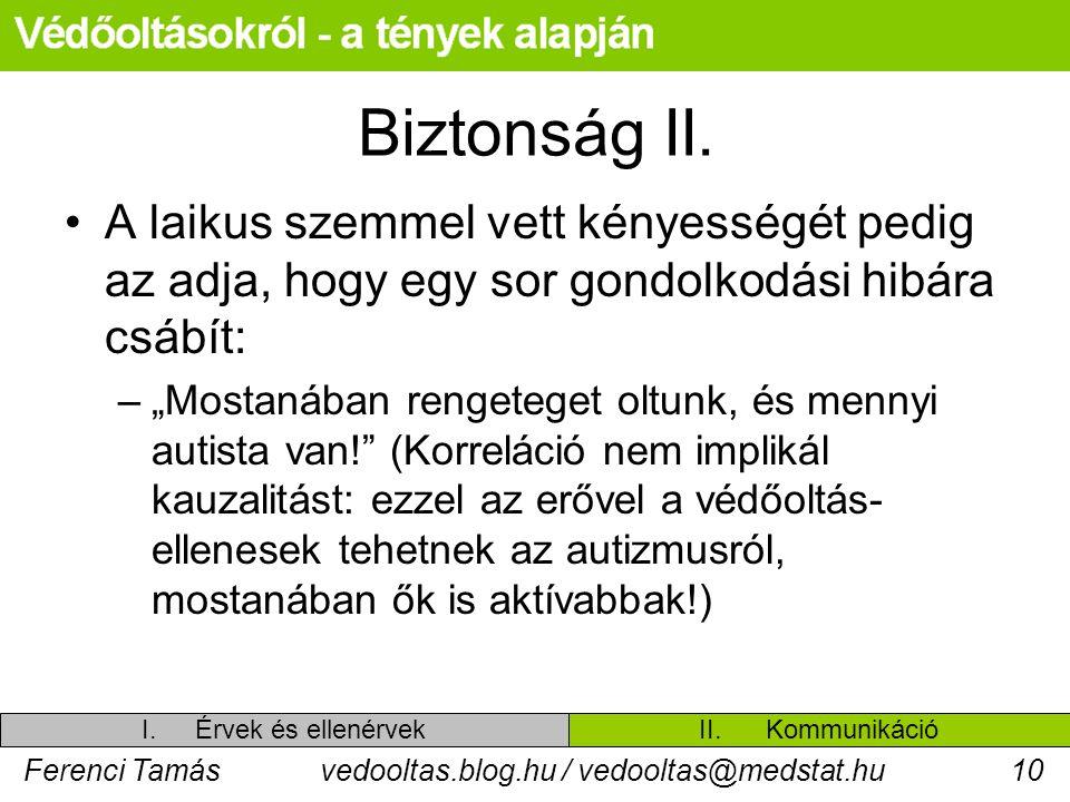 Ferenci Tamásvedooltas.blog.hu / vedooltas@medstat.hu10 Biztonság II. A laikus szemmel vett kényességét pedig az adja, hogy egy sor gondolkodási hibár