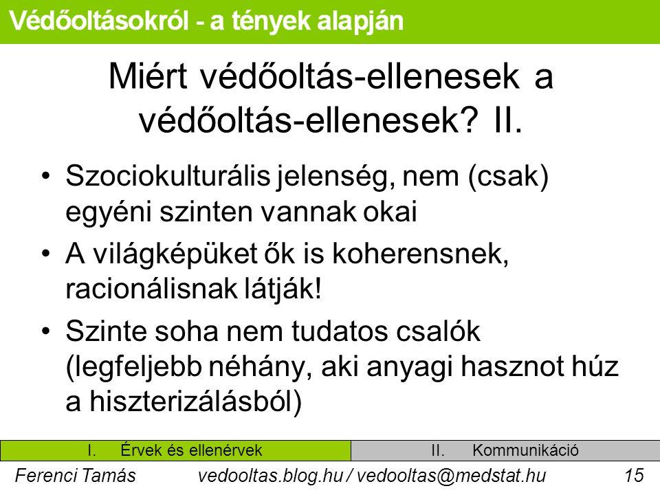 Ferenci Tamásvedooltas.blog.hu / vedooltas@medstat.hu15 Miért védőoltás-ellenesek a védőoltás-ellenesek? II. Szociokulturális jelenség, nem (csak) egy
