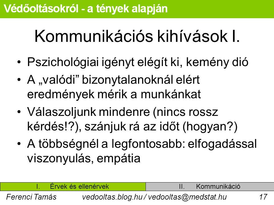 """Ferenci Tamásvedooltas.blog.hu / vedooltas@medstat.hu17 Kommunikációs kihívások I. Pszichológiai igényt elégít ki, kemény dió A """"valódi"""" bizonytalanok"""