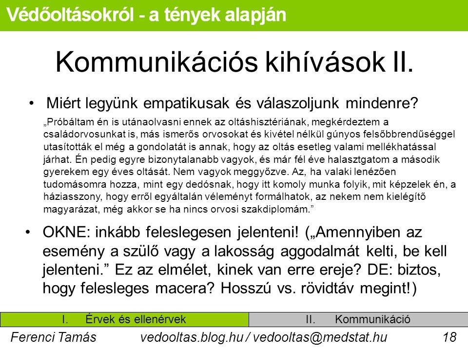 Ferenci Tamásvedooltas.blog.hu / vedooltas@medstat.hu18 Kommunikációs kihívások II. Miért legyünk empatikusak és válaszoljunk mindenre? II. Kommunikác