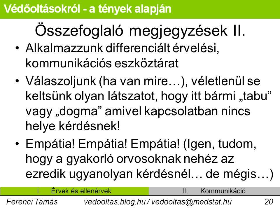 Ferenci Tamásvedooltas.blog.hu / vedooltas@medstat.hu20 Összefoglaló megjegyzések II. Alkalmazzunk differenciált érvelési, kommunikációs eszköztárat V