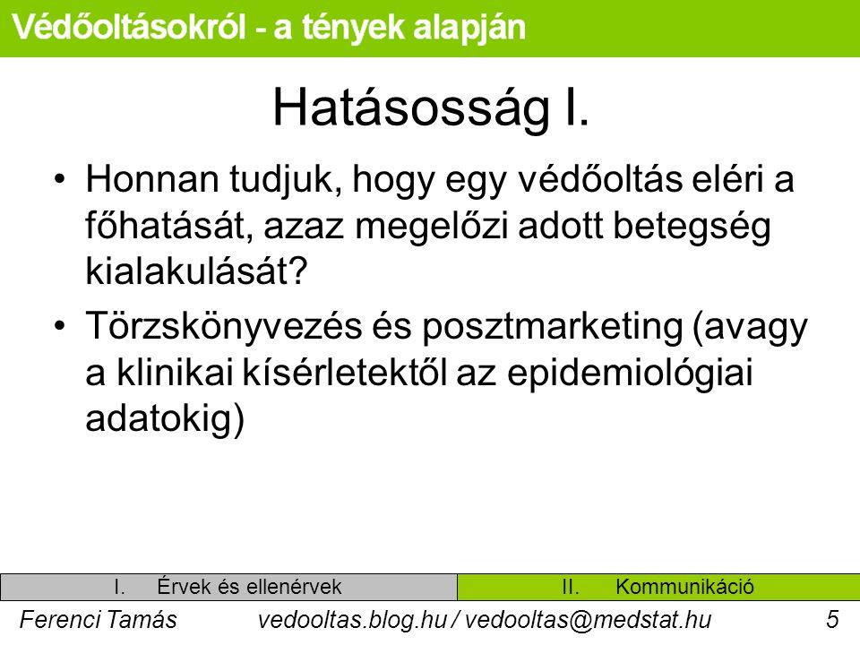 Ferenci Tamásvedooltas.blog.hu / vedooltas@medstat.hu5 Hatásosság I. Honnan tudjuk, hogy egy védőoltás eléri a főhatását, azaz megelőzi adott betegség