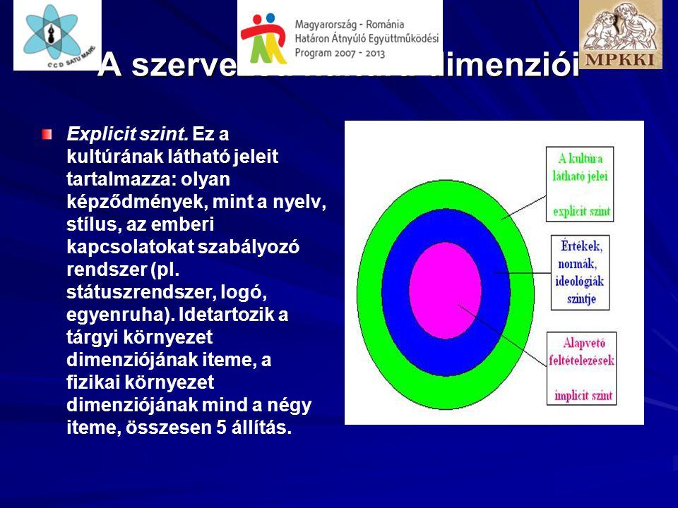 Explicit szint. Ez a kultúrának látható jeleit tartalmazza: olyan képződmények, mint a nyelv, stílus, az emberi kapcsolatokat szabályozó rendszer (pl.