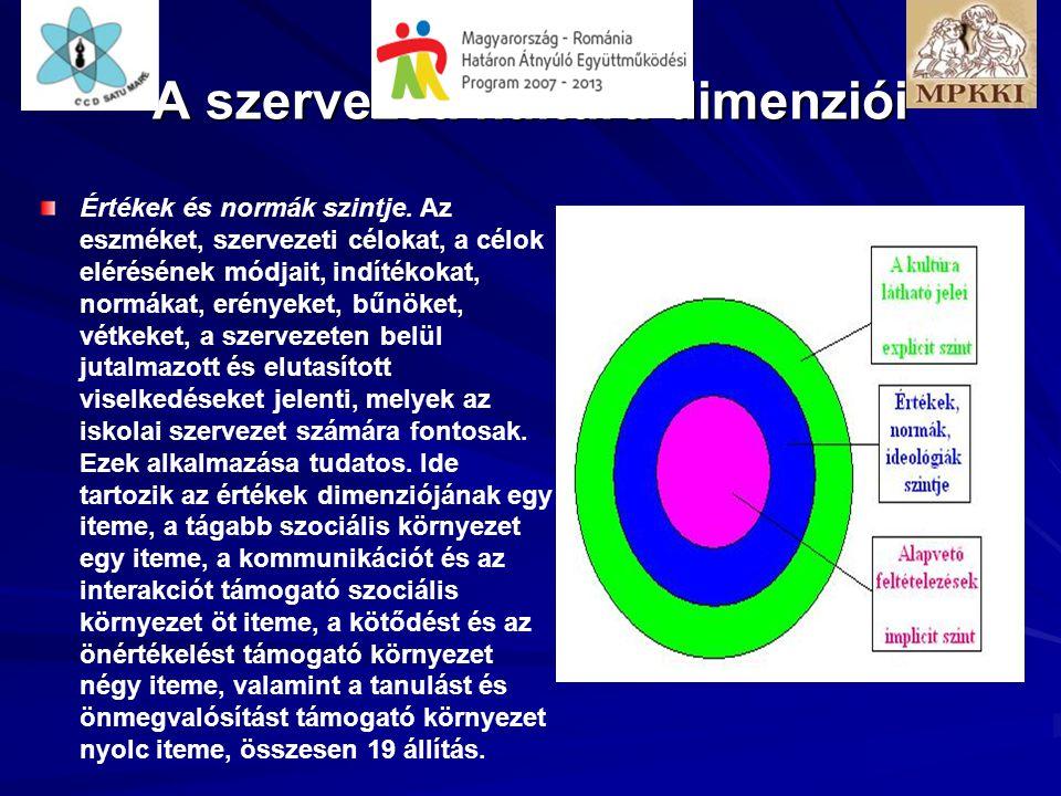 A szervezeti kultúra dimenziói Értékek és normák szintje. Az eszméket, szervezeti célokat, a célok elérésének módjait, indítékokat, normákat, erényeke