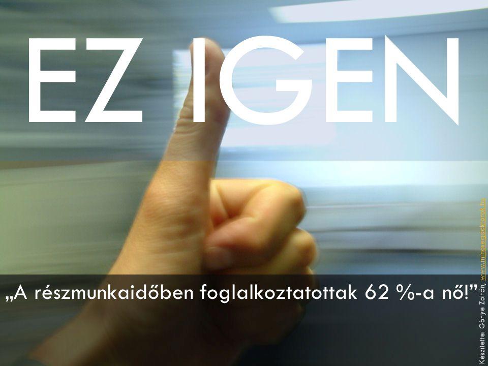 """EZ IGEN """"A részmunkaidőben foglalkoztatottak 62 %-a nő! Készítette: Gönye Zoltán, www.minosegdoktorok.huwww.minosegdoktorok.hu"""