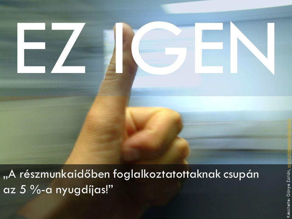 """EZ IGEN """"A részmunkaidőben foglalkoztatottaknak csupán az 5 %-a nyugdíjas! Készítette: Gönye Zoltán, www.minosegdoktorok.huwww.minosegdoktorok.hu"""