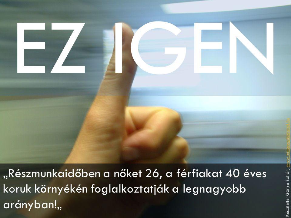 """EZ IGEN """"Részmunkaidőben a nőket 26, a férfiakat 40 éves koruk környékén foglalkoztatják a legnagyobb arányban!"""" Készítette: Gönye Zoltán, www.minosegdoktorok.huwww.minosegdoktorok.hu"""