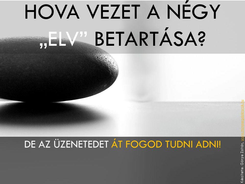 """HOVA VEZET A NÉGY """"ELV"""" BETARTÁSA? DE AZ ÜZENETEDET ÁT FOGOD TUDNI ADNI! Készítette: Gönye Zoltán, www.minosegdoktorok.huwww.minosegdoktorok.hu"""