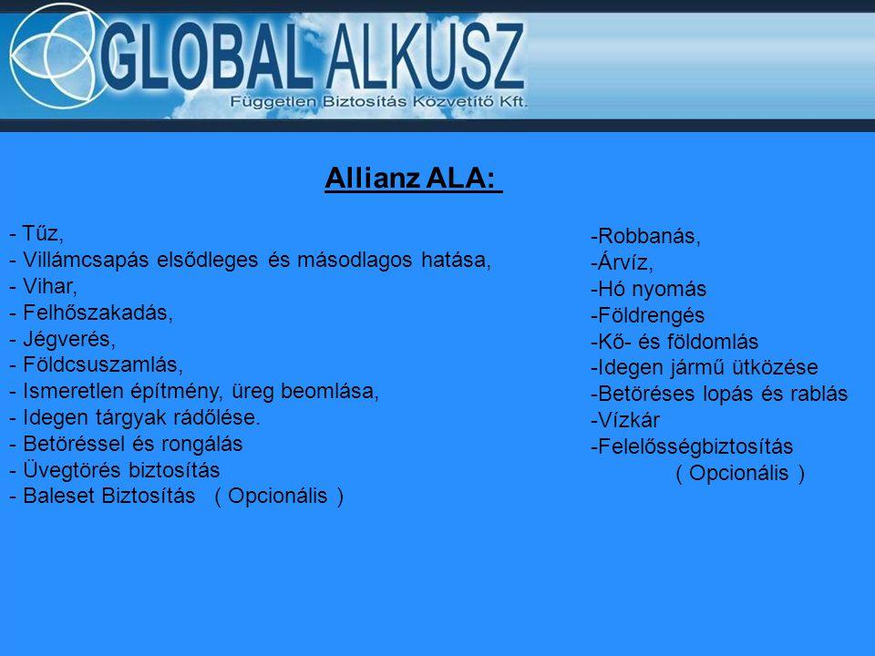 Allianz ALA: - Tűz, - Villámcsapás elsődleges és másodlagos hatása, - Vihar, - Felhőszakadás, - Jégverés, - Földcsuszamlás, - Ismeretlen építmény, üre