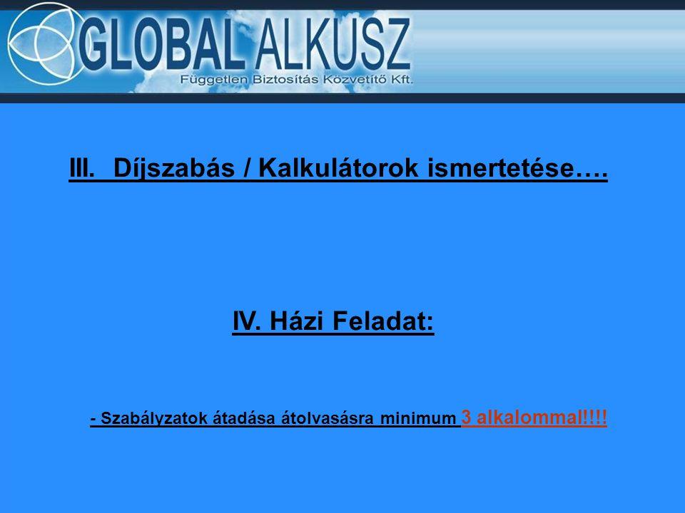 III. Díjszabás / Kalkulátorok ismertetése…. IV. Házi Feladat: - Szabályzatok átadása átolvasásra minimum 3 alkalommal!!!!