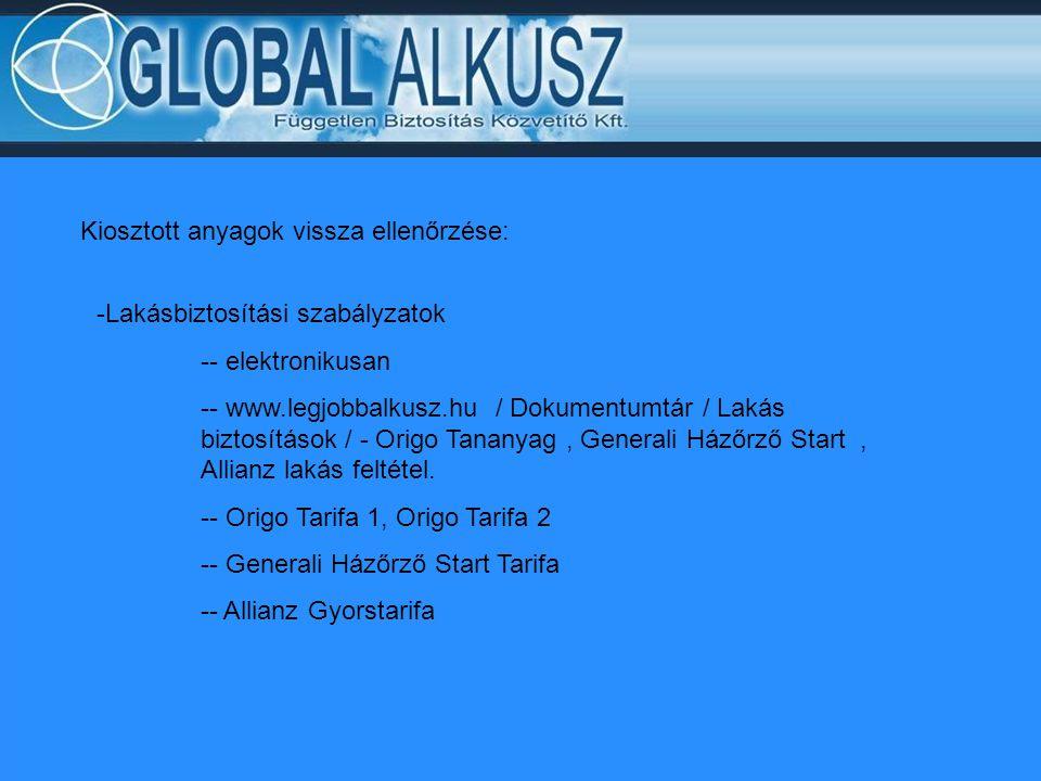 Kiosztott anyagok vissza ellenőrzése: -Lakásbiztosítási szabályzatok -- elektronikusan -- www.legjobbalkusz.hu / Dokumentumtár / Lakás biztosítások /