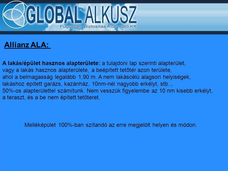 Allianz ALA: A lakás/épület hasznos alapterülete: a tulajdoni lap szerinti alapterület, vagy a lakás hasznos alapterülete, a beépített tetõtér azon te