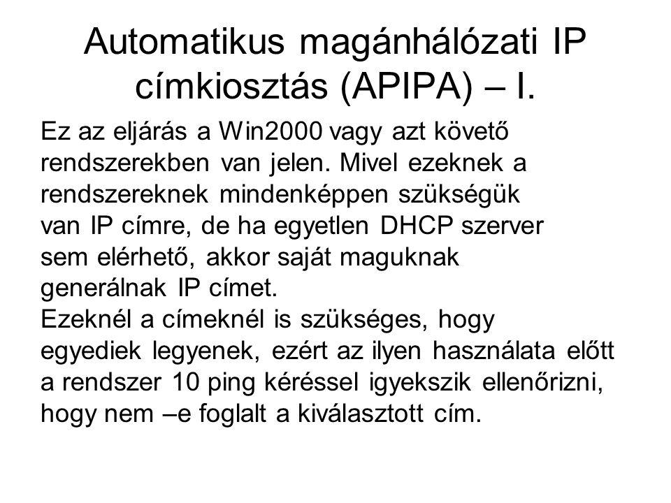 Automatikus magánhálózati IP címkiosztás (APIPA) – I. Ez az eljárás a Win2000 vagy azt követő rendszerekben van jelen. Mivel ezeknek a rendszereknek m