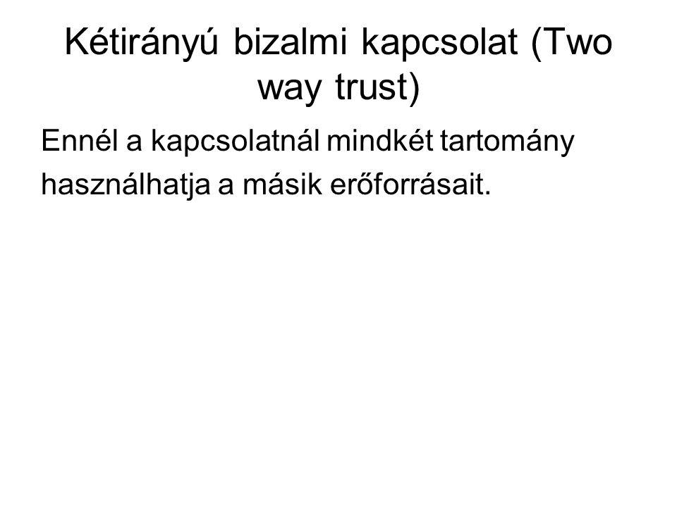 Kétirányú bizalmi kapcsolat (Two way trust) Ennél a kapcsolatnál mindkét tartomány használhatja a másik erőforrásait.