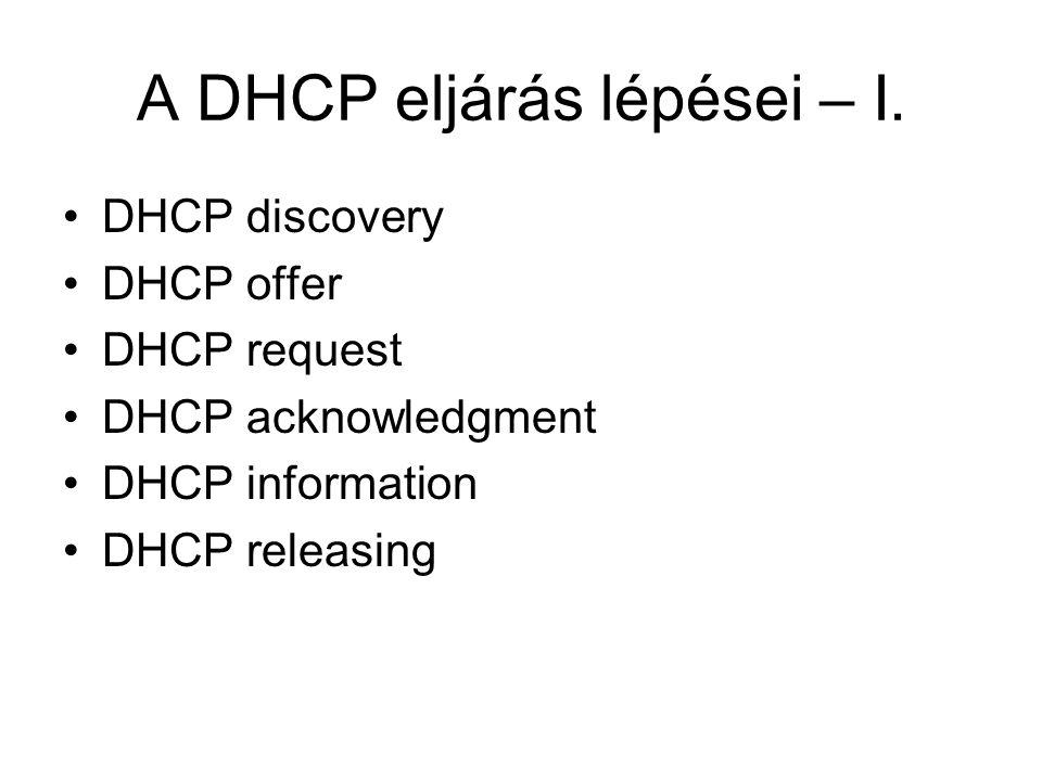 A DHCP eljárás lépései – II.