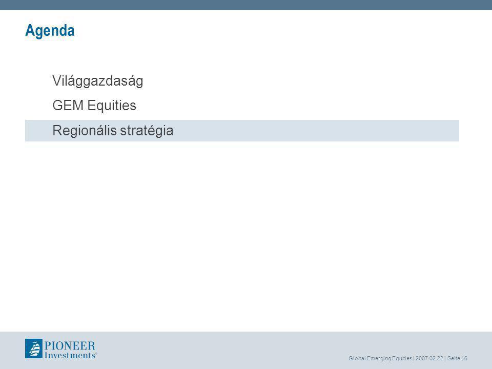 Global Emerging Equities | 2007.02.22 | Seite 16 Agenda Világgazdaság GEM Equities Regionális stratégia