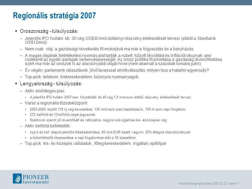 Global Emerging Equities | 2007.02.22 | Seite 17 Regionális stratégia 2007  Oroszország - túlsúlyozás: –Jelentős IPO hullám: kb.