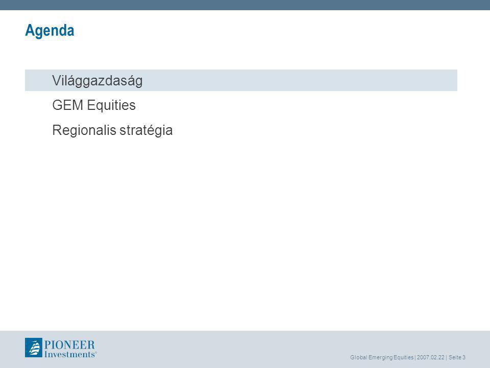 Global Emerging Equities | 2007.02.22 | Seite 3 Agenda Világgazdaság GEM Equities Regionalis stratégia