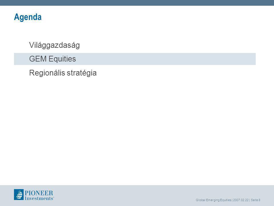Global Emerging Equities | 2007.02.22 | Seite 8 Agenda Világgazdaság GEM Equities Regionális stratégia