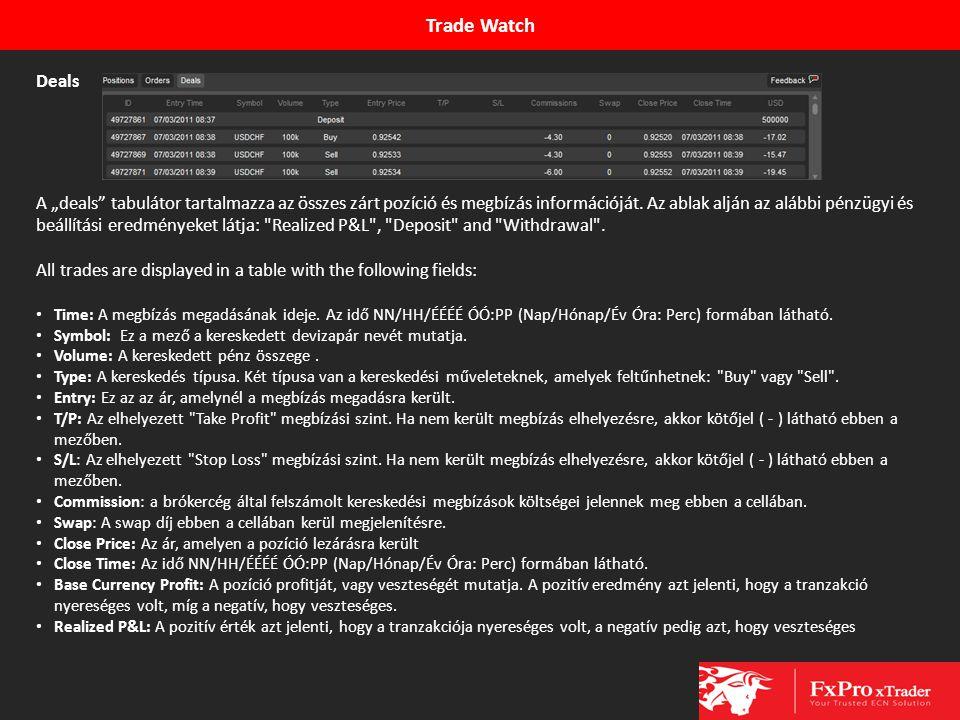 """Trade Watch Deals A """"deals"""" tabulátor tartalmazza az összes zárt pozíció és megbízás információját. Az ablak alján az alábbi pénzügyi és beállítási er"""