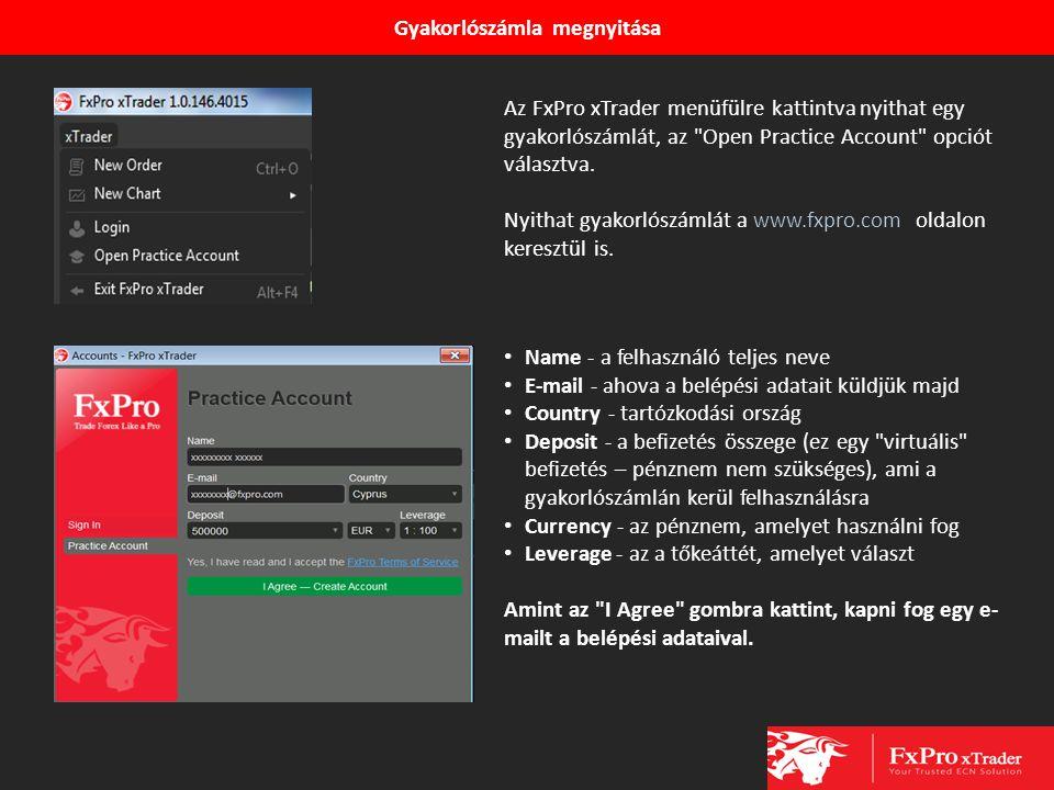 Gyakorlószámla megnyitása Az FxPro xTrader menüfülre kattintva nyithat egy gyakorlószámlát, az