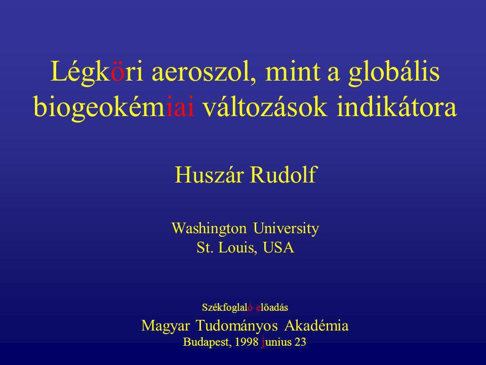 Légköri aeroszol, mint a globális biogeokémiai változások indikátora Huszár Rudolf Washington University St. Louis, USA Székfoglaló előadás Magyar Tud