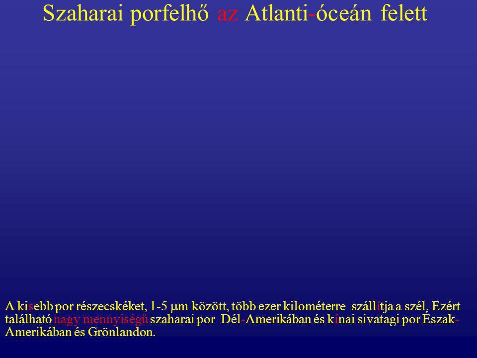 Szaharai porfelhő az Atlanti-óceán felett A kisebb por részecskéket, 1-5  m között, több ezer kilométerre szállítja a szél. Ezért található nagy menn