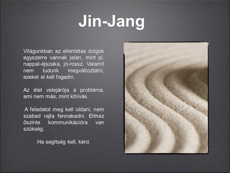 Jin-Jang Világunkban az ellentétes dolgok egyszerre vannak jelen, mint pl. nappal-éjszaka, jó-rossz. Valamit nem tudunk megváltoztatni, ezeket el kell