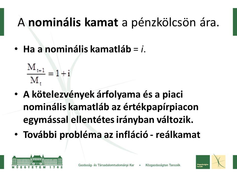 A nominális kamat a pénzkölcsön ára.Ha a nominális kamatláb = i.