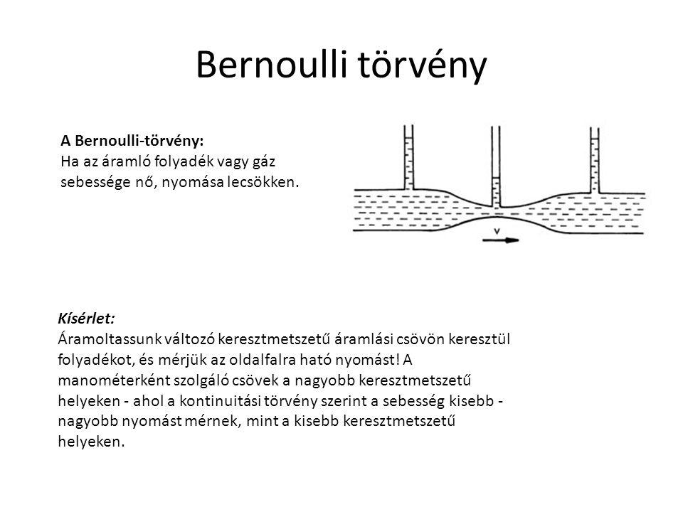 Bernoulli törvény A Bernoulli-törvény: Ha az áramló folyadék vagy gáz sebessége nő, nyomása lecsökken. Kísérlet: Áramoltassunk változó keresztmetszetű
