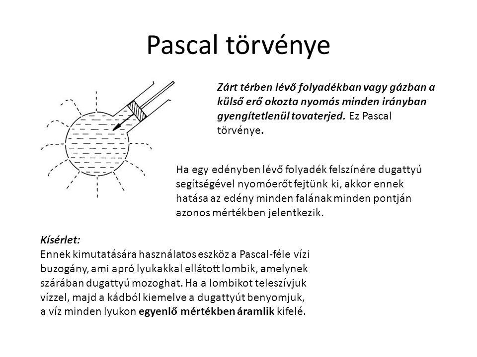 Pascal törvénye Zárt térben lévő folyadékban vagy gázban a külső erő okozta nyomás minden irányban gyengítetlenül tovaterjed. Ez Pascal törvénye. Ha e