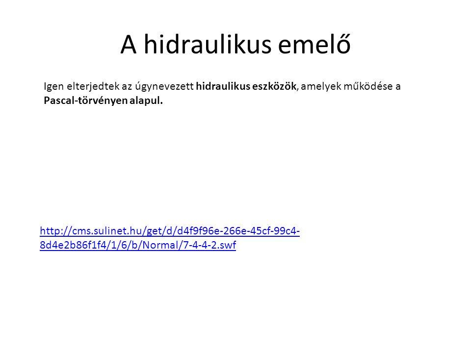 A hidraulikus emelő Igen elterjedtek az úgynevezett hidraulikus eszközök, amelyek működése a Pascal-törvényen alapul. http://cms.sulinet.hu/get/d/d4f9