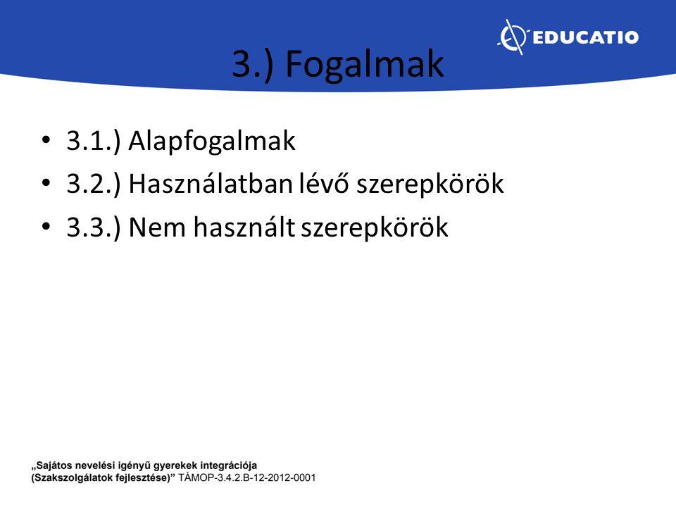 3.) Fogalmak 3.1.) Alapfogalmak 3.2.) Használatban lévő szerepkörök 3.3.) Nem használt szerepkörök