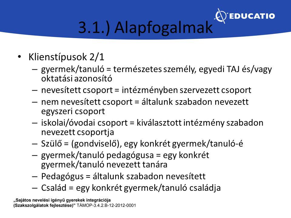 3.1.) Alapfogalmak Klienstípusok 2/1 – gyermek/tanuló = természetes személy, egyedi TAJ és/vagy oktatási azonosító – nevesített csoport = intézményben