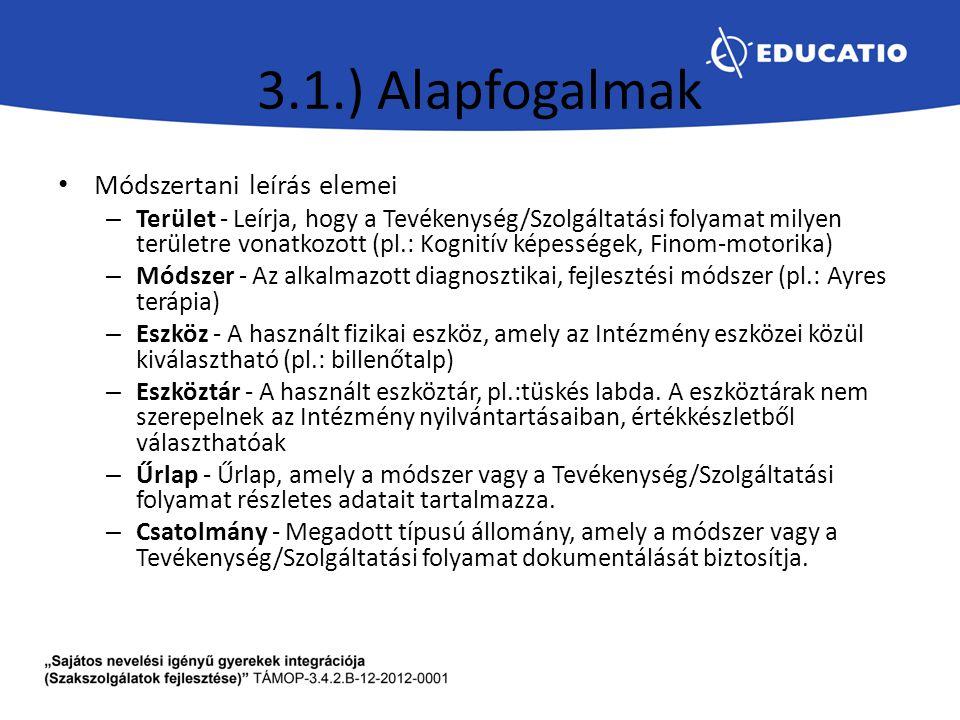 3.1.) Alapfogalmak Módszertani leírás elemei – Terület - Leírja, hogy a Tevékenység/Szolgáltatási folyamat milyen területre vonatkozott (pl.: Kognitív