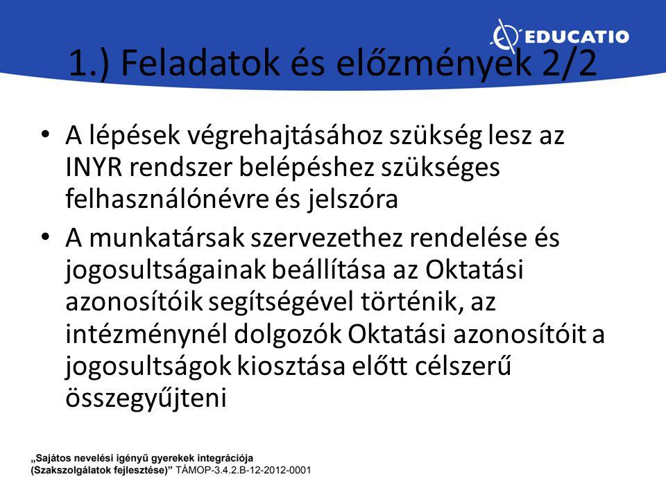 1.) Feladatok és előzmények 2/2 A lépések végrehajtásához szükség lesz az INYR rendszer belépéshez szükséges felhasználónévre és jelszóra A munkatársa