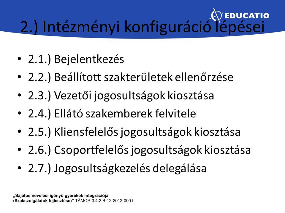 2.) Intézményi konfiguráció lépései 2.1.) Bejelentkezés 2.2.) Beállított szakterületek ellenőrzése 2.3.) Vezetői jogosultságok kiosztása 2.4.) Ellátó