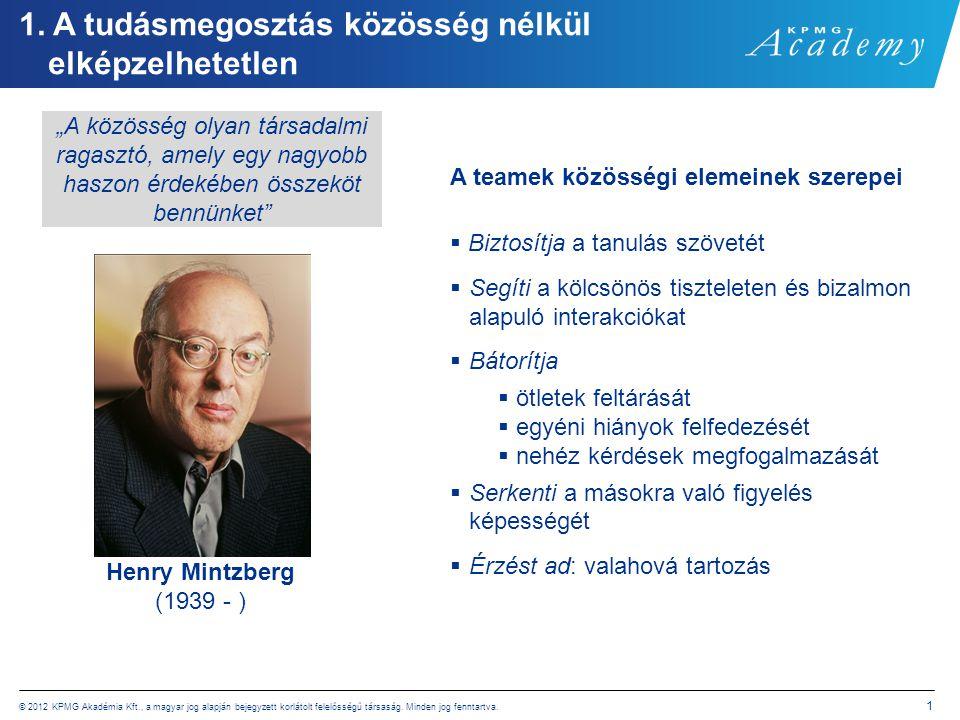 © 2012 KPMG Akadémia Kft., a magyar jog alapján bejegyzett korlátolt felelősségű társaság. Minden jog fenntartva. 1 1. A tudásmegosztás közösség nélkü