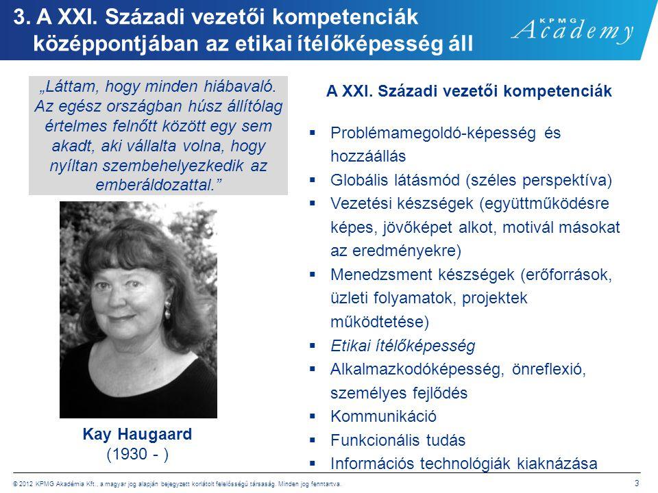 © 2012 KPMG Akadémia Kft., a magyar jog alapján bejegyzett korlátolt felelősségű társaság. Minden jog fenntartva. 3 3. A XXI. Századi vezetői kompeten
