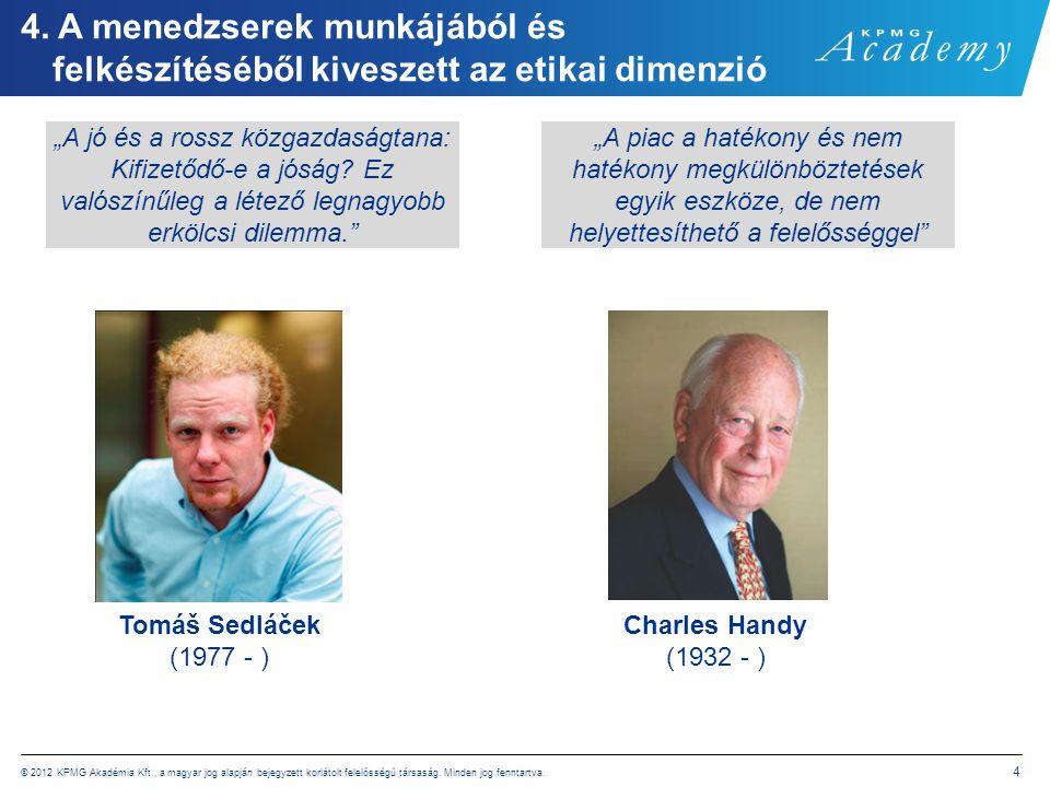 © 2012 KPMG Akadémia Kft., a magyar jog alapján bejegyzett korlátolt felelősségű társaság. Minden jog fenntartva. 4 4. A menedzserek munkájából és fel