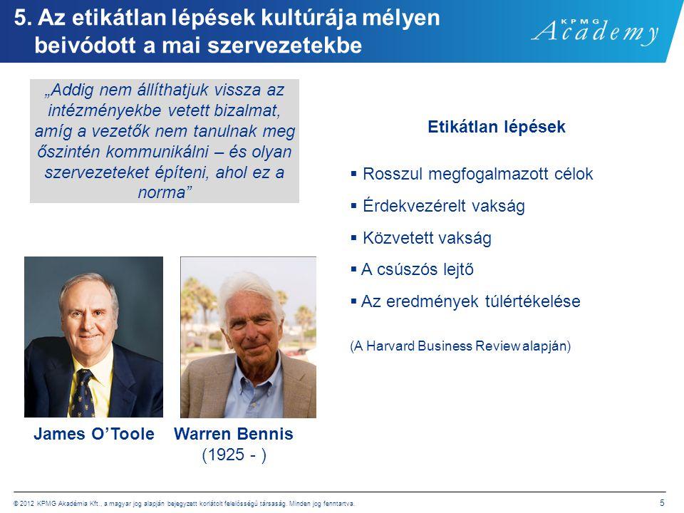 © 2012 KPMG Akadémia Kft., a magyar jog alapján bejegyzett korlátolt felelősségű társaság. Minden jog fenntartva. 5 5. Az etikátlan lépések kultúrája